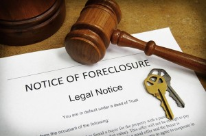 10709510 - foreclosure document with house keys and gavel