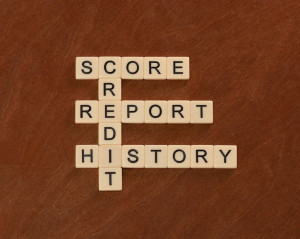 Crossword puzzle with words Credit, History, Report, Score. Cred