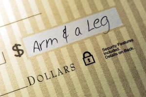 3482063 - macro closeup of check made out for an arm and a leg