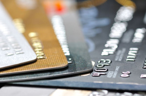 pack of credit cards in most shallow focus